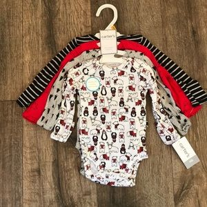 Carter's Christmas/winter NB onesies set of 4